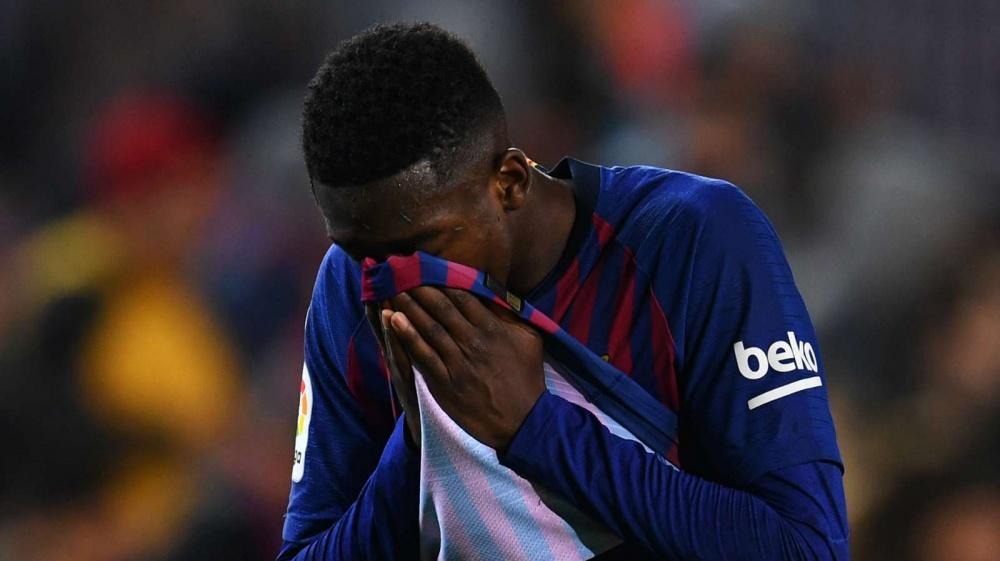 ديمبلي يغيب عن برشلونة أسبوعين بسبب الإصابة