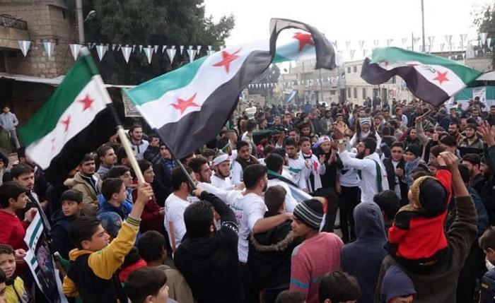 مظاهرات رغم القصف والأمطار في الشمال المحرر
